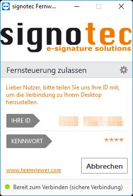 signotec Fernwartung Screenshot©signotec GmbH
