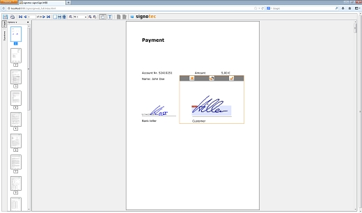 signoSign /Web Applet in action©signotec GmbH